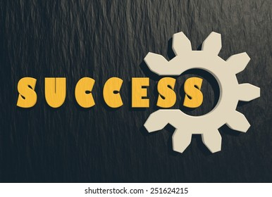 gear with success text on black charcoal background