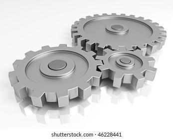 Gear wheels. A part of the mechanism.