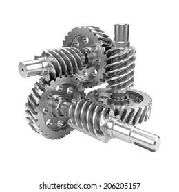 Gear worn wheels isolated on white background