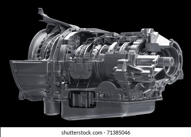Gearbox isolated on black. Clipping path included.