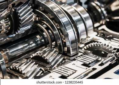 gearboxes and bearings in the section. modern technological mechanisms in industry and transport