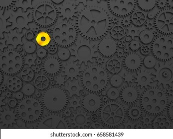 Gears and cogs with one different colored in gold. 3d illustration