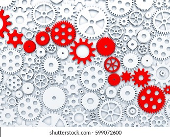 Gears and cogs. Some of gears colored in red. 3d illustration