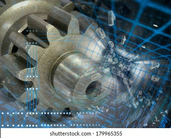 Gears and digits - abstract computer background.