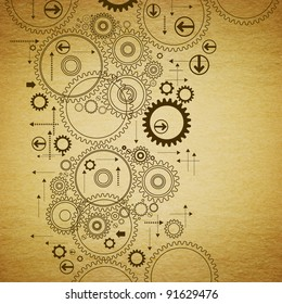 the gears are drawn on old paper.antique drawing