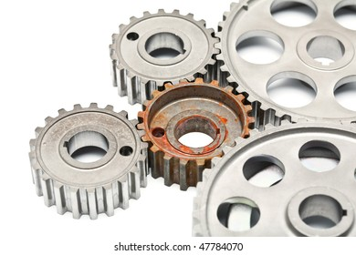 Gears engagement rusty part on white background