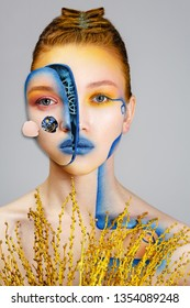 Gears from the face. Robot girl. Biomechanical Woman, abstract futuristic. Future technology and science, female portrait