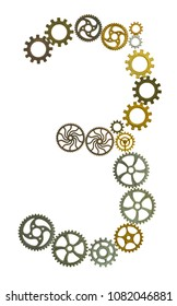 Gears form a numeral in front of white background.