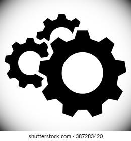 Gears, gear wheels, cog wheels on white