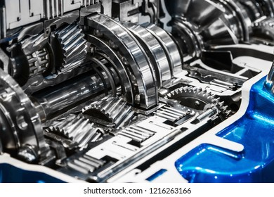 gears of the gearbox in the section. modern technological mechanisms in industry and transport