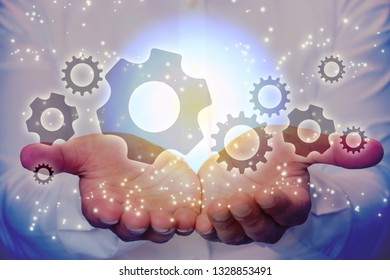 gears and hand