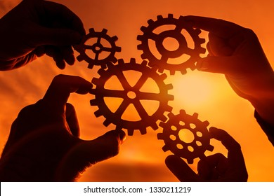 Gears in the hands of four people at sunset. mechanism. interaction.