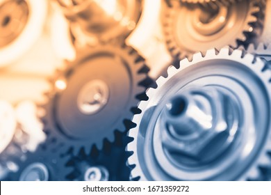 gears industrial background with warm shiny light