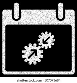 Gears Integration Calendar Day grainy textured icon for overlay watermark stamps. Flat symbol with dust texture. Dotted glyph white ink rubber seal stamp with grunge design on a black background.