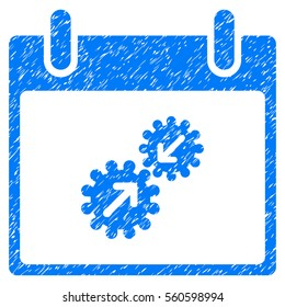 Gears Integration Calendar Day grainy textured icon for overlay watermark stamps. Flat symbol with unclean texture. Dotted glyph blue ink rubber seal stamp with grunge design on a white background.