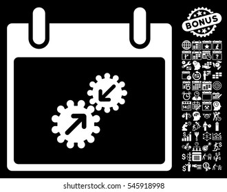 Gears Integration Calendar Day icon with bonus calendar and time management clip art. Glyph illustration style is flat iconic symbols, white, black background.