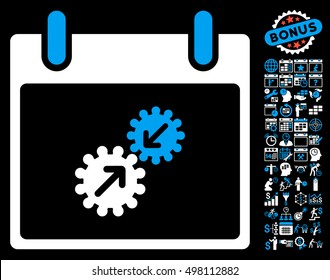 Gears Integration Calendar Day pictograph with bonus calendar and time management graphic icons. Glyph illustration style is flat iconic symbols, blue and white, black background.