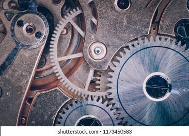 Gears and mechanism of an old watch
