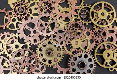 Gears on black background. Conceptual image of industry, mecanics, connection or team work.