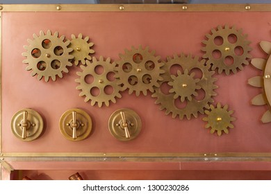 Gears on the old style copper panel