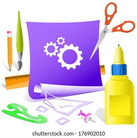 Gears. Paper template. Raster illustration.