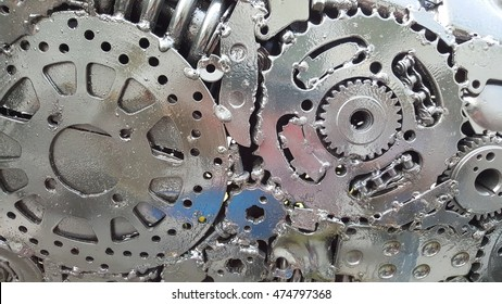 gears parts on close up, background