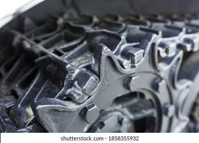 gears tank tracks close up