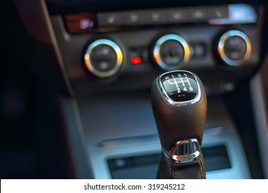 Gearshift in the car.Handle a manual transmission