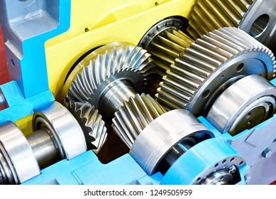 Gearwheels speed reducer cross section