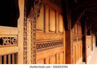 """""""Gebyok"""" in """"Joglo"""". The ornament of Central Java province traditional house."""
