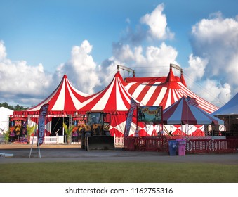 Geddes, New York, USA. August 23, 2018. Coronas of Hollywood Circus big top on the midway of the New York State Fair in Geddes , New York