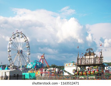 Geddes, New York, USA. August 23, 2018. Landscape of the west end of part of the midway at the New York State Fair