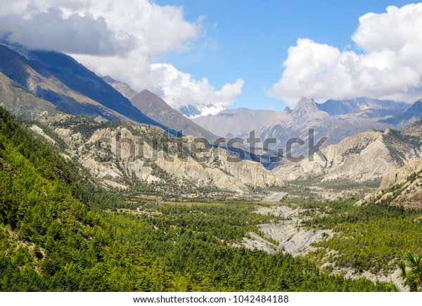 a geeen and grey valley surrounded by mountains