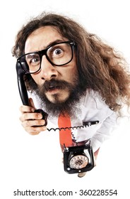 Geeky businessman making a phone call