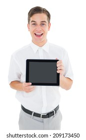 Geeky businessman showing his tablet pc on white background
