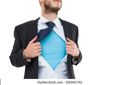 Geeky hipster opening shirt superhero style on white background