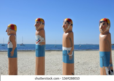 GEELONG, AUS - APR 12 2019:Australian Lifeguard Service Baywalk Bollards, a colorful sculptures chronicling Geelong city history southwest of Melbourne Victoria, Australia