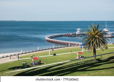 Geelong, Australia - December 22, 2017: Eastern Beach, Waterfront Geelong, Victoria, Australia. A beautiful beach, good stop on the way to Great Ocean Road.
