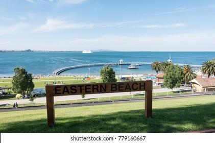 Geelong, Australia - December 22, 2017: Eastern Beach, Waterfront Geelong, Victoria, Australia. A beautiful beach, good stop on the way to Great Ocean Road.
