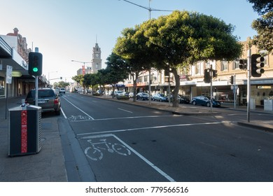 Geelong, Australia - December 22, 2017:  view from main street, central of Geelong, great stop and tourist attraction on the way to Great Ocean Road, Victoria, Australia.