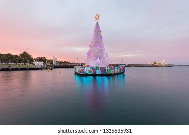 Geelong, Australia - Jan 10, 2019: Beautiful sunset over The Carousel Pavilion houses, an extremely rare and beautiful Armitage Herschell Carousel with Christmas tree.