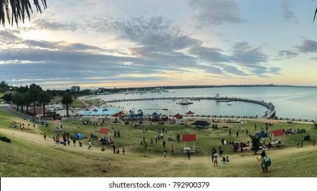 Geelong, Australia - January 06, 2018: Eastern Beach, Waterfront Geelong, Victoria, Australia. A beautiful beach, good stop on the way to Great Ocean Road