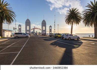 Geelong, Australia - July 20, 2019: Waterfront Geelong, Victoria, Australia. A beautiful beach, good stop on the way to Great Ocean Road. Opposite to Deakin University