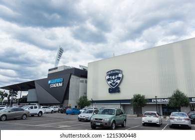 Geelong, Australia - October 14, 2018: GMHBA Stadium or Kardinia Park is the home ground of the Geelong Cats AFL club. Until 2018 it was known as Skilled Stadium.