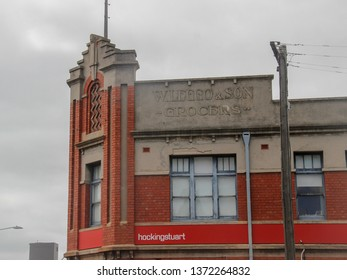 Geelong, Victoria - February 21 2019 The facade of the former W. Leggo & Son Grocers building at 88 Ryrie Street