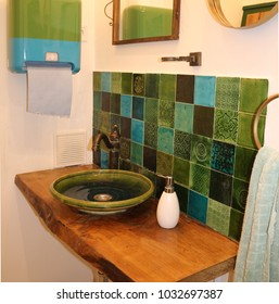 Geen and blue bathroom interor.