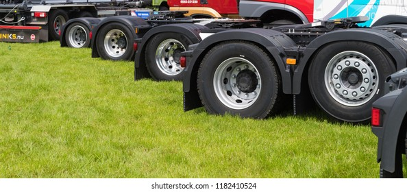 GEESTEREN, NETHERLANDS - MAY 21, 2017: Wheels of trucks during a truck meeting in the netherlands