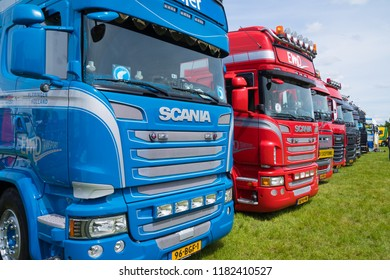 GEESTEREN, NETHERLANDS - MAY 21, 2017: Shiny trucks in a row during a truck meeting