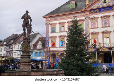 GEGENBACH, GERMANY - DEC 20, 2018 - Decorations on the buildings along street in Christmas market,Gegenbach, Germany