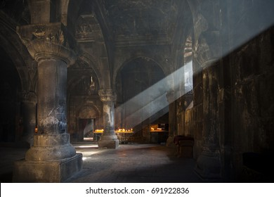 GEGHARD, ARMENIA - 8 NOVEMBER 2017: Interior of Armenian church. Light coming inside the Armenian apostolic church. Holly Christian place.